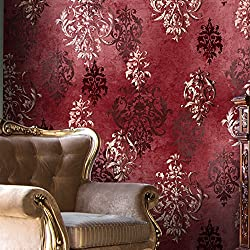 "HaokHome 66111 Vintage Distressed Damask Wallpaper Rolls Crimson Red/Ivory/Brown Retro Textured Wall Decoration 20.8"" x 32.8ft"