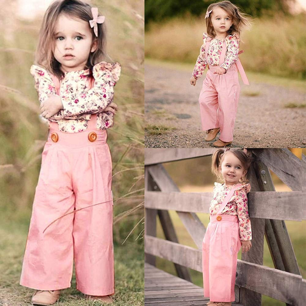 Toddler Kids Baby Girls Long Sleeve Floral Print Tops+Suspender Pants Outfits Clothes Set