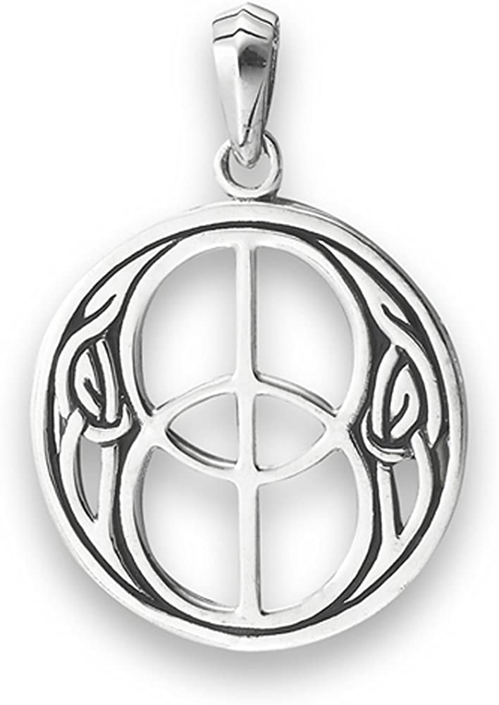Beautiful Sterling silver 925 sterling Sterling Silver Rhodium-plated Polished Celtic Symbol Pendant