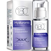Hyaluronic Acid Serum for Face w. Vitamin C - Ages 30 to 40 - Minimize the Signs of Aging from the Very Start - Concentrated Face Serum for Smooth Supple Hydrated Skin - 180 Cosmetics - 1 oz