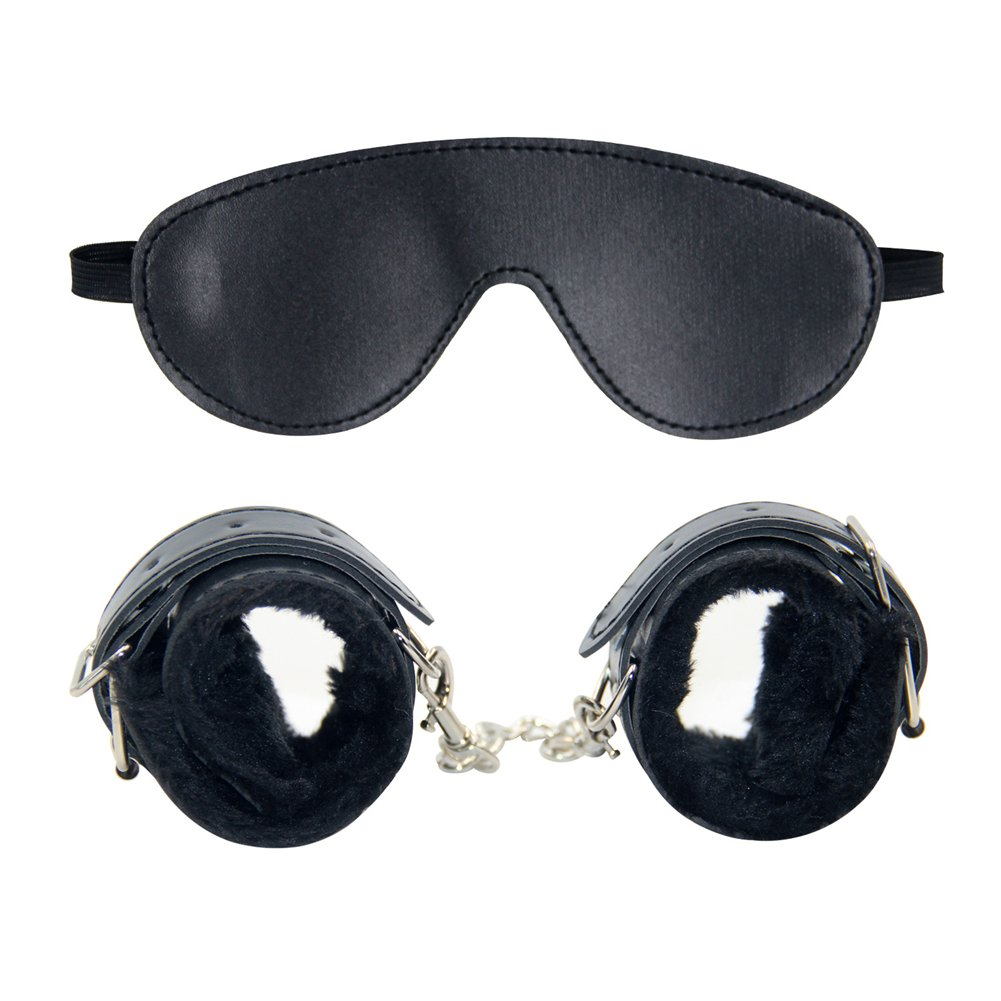 MCCKLE Soft PU Fur Leather Handcuff Adjustable Wrist Cuff and Blindfold Eye Mask