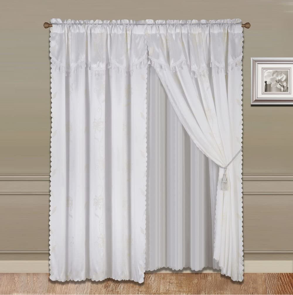 GorgeousHomeLinenVarious Colors 8-Piece Nada Luxury Faux Jacquard Floral Design Panel, Rod Pocket Window Curtain Set Attached Valance, Panel, and Sheer- Includes 2 Tie Backs (White)