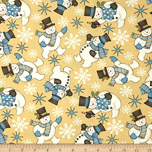 Sweetie Jeans - Sweetie Pie Snowmen Toss Gold by Wilmington Prints 1 Yard 100% Designer Cotton by Stella Jean 80708-514