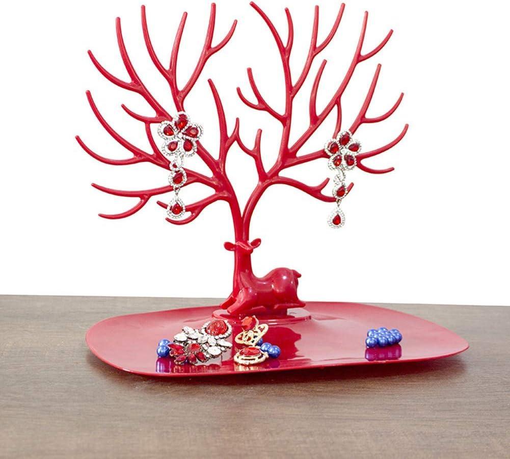 DZX Soporte de joyería de árbol de asta, Organizador de exhibición de joyería Colgante de plástico, Organizador de Soporte de Collares de Oreja para niñas Rojo 25 * 15 * 23 cm