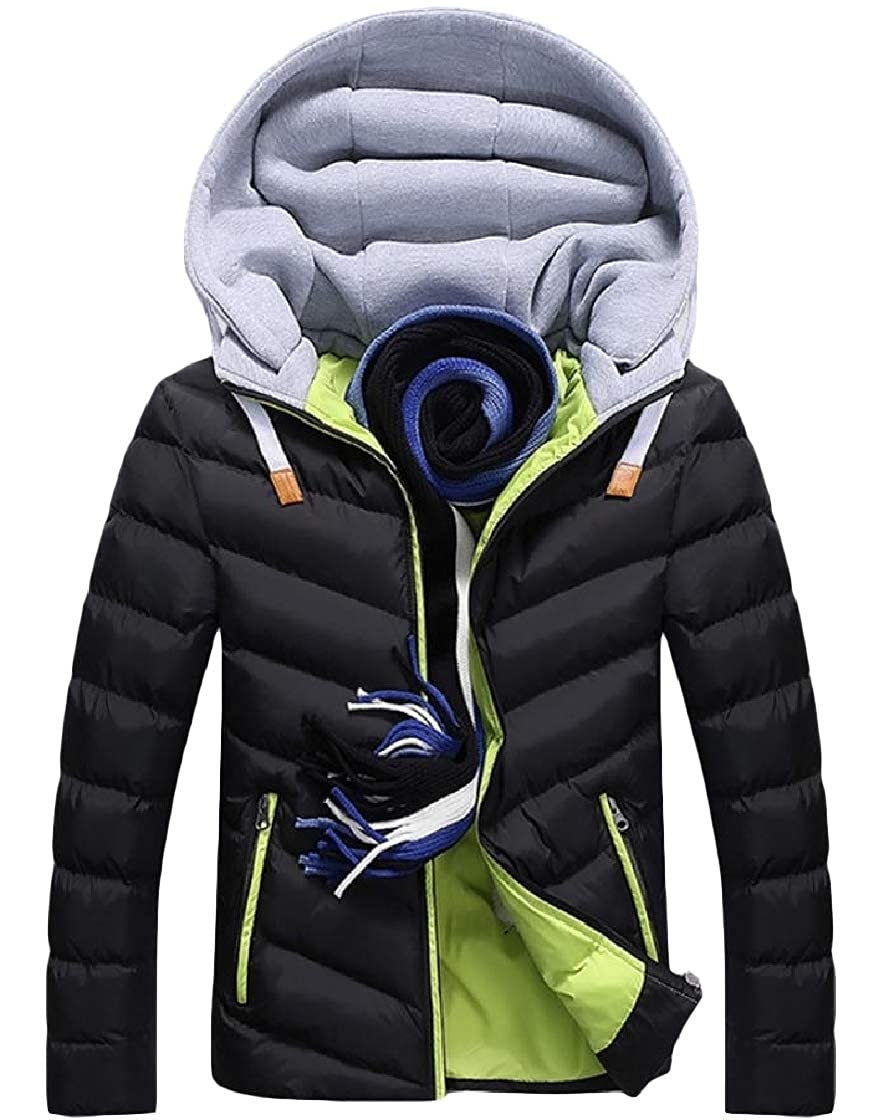 YUNY Mens Warm Thick Hoodie Pocket Zipper Long-Sleeve Patched Down Jackets Pattern2 S