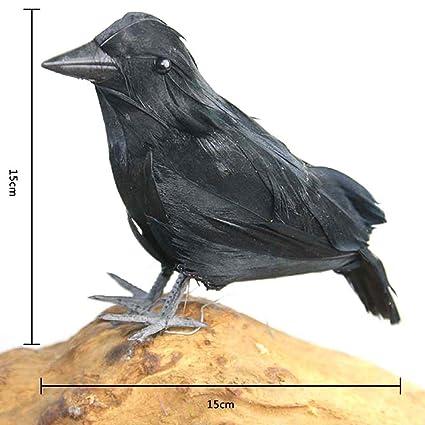Samber Halloween Decor Prop Créatif Corbeau Simulé Artisanat Halloween Crow  Corneilles Noires à Plumes Décorations D