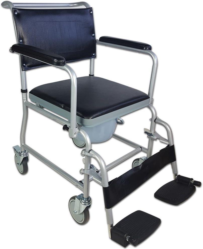 Mobiclinic, Ancla, Silla con WC o inodoro para minusválidos, discapacitados, ancianos, Plegable, Reposabrazos, Asiento ergonómico, Conteras antideslizates, color Gris