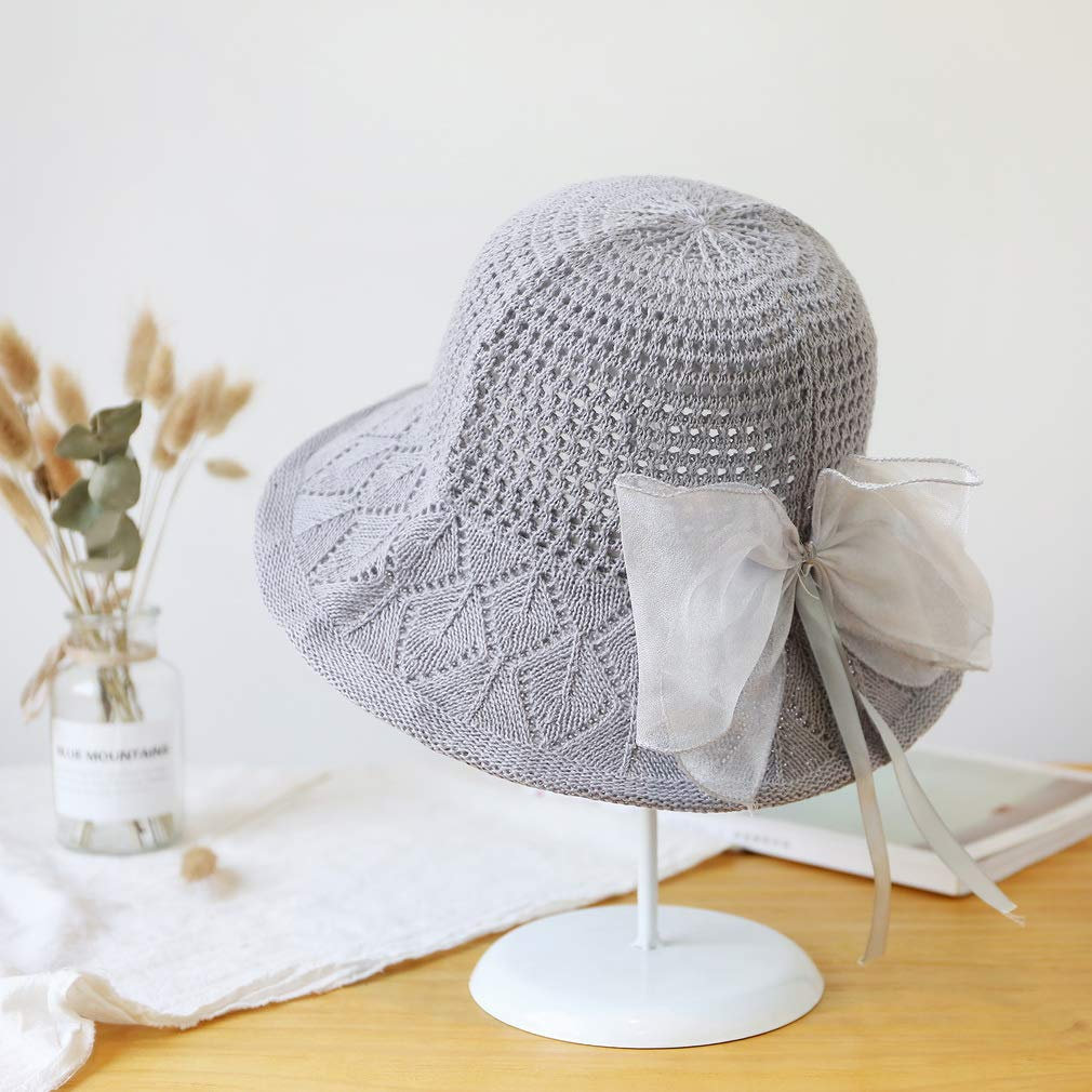 COMVIP Women Solid Knitted Hollow Out Summer Outdoor Sun Hat with Bowknot