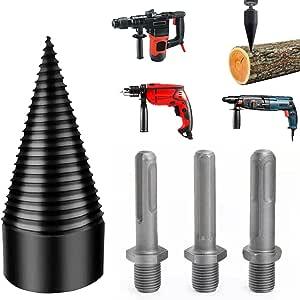 4PCS Wood Log Splitter Firewood Drill Bit Heavy Duty Drill Screw Cone Driver for Household Electric Drill Stick hex Square Round (32mm 4pcs Log Splitter Drill Bit)
