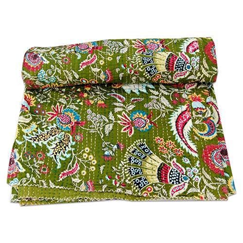 GOPALI CRAFT Floral Kantha Quilt Queen Hippie Bedding Bohemian Kantha Throw Dorm Decor Bedspread