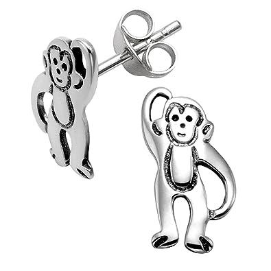 Sterling Silver Monkey Stud Earrings Amazon Co Uk Jewellery