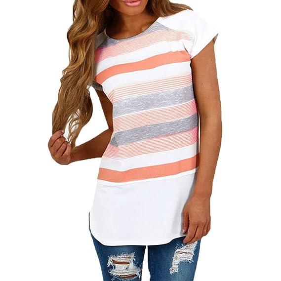 Camiseta Colorear MujerHonestyi T Rayas De Verano Blusa Shirt 76yYbIvfg
