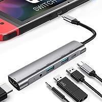 RREAKA USB tipo C a HDMI Multiport Hub, USB-C(USB3.1) adaptador PD cargador para Nintendo Switch, base portátil 4K HDMI para Samsung Dex Station Note10 con estación de acoplamiento de audio de 3,5 mm