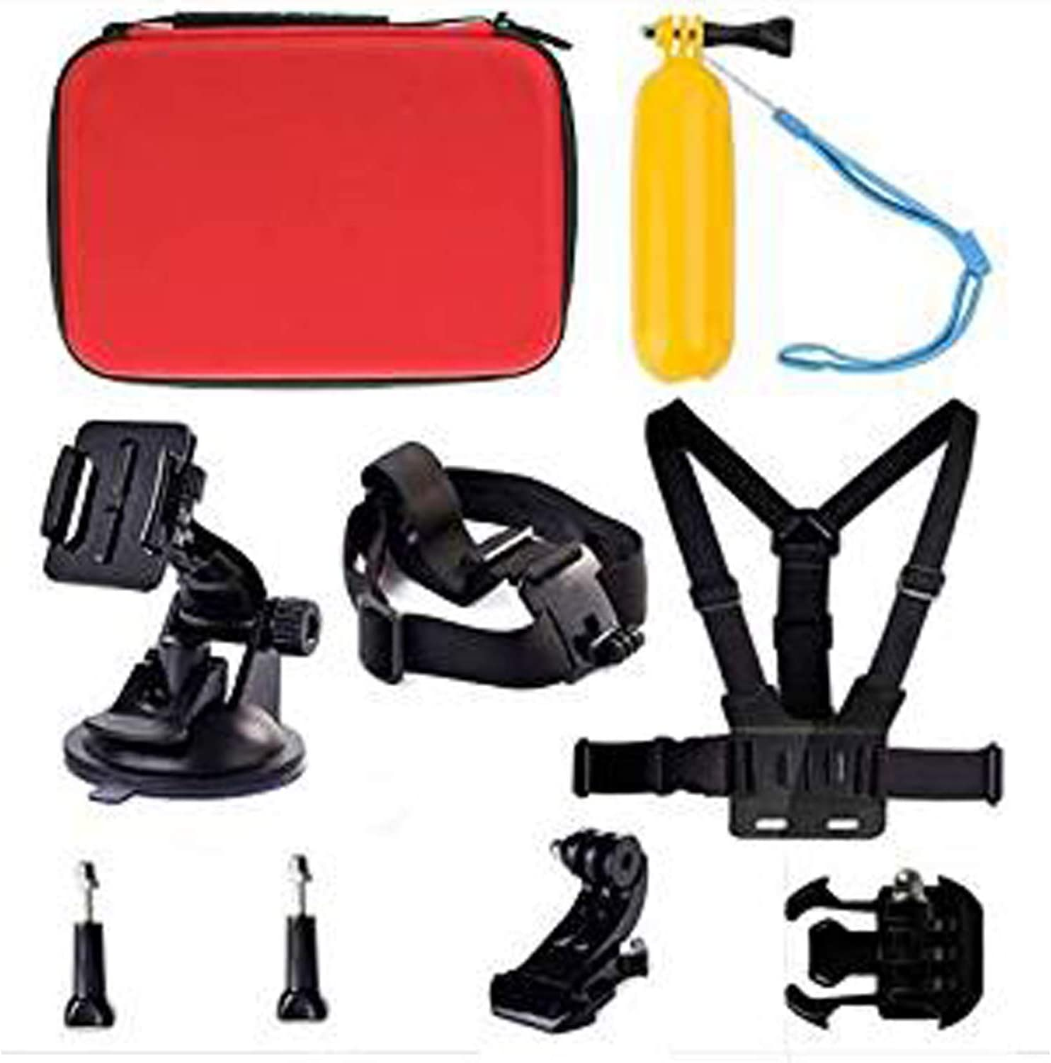 Navitech 9 in 1 Action Camera Accessory Combo Kit and Rugged Red Storage Case Compatible with The Noza Tec Pro 1080P SJ4000 HD Helmet Sport Action Waterproof Camera