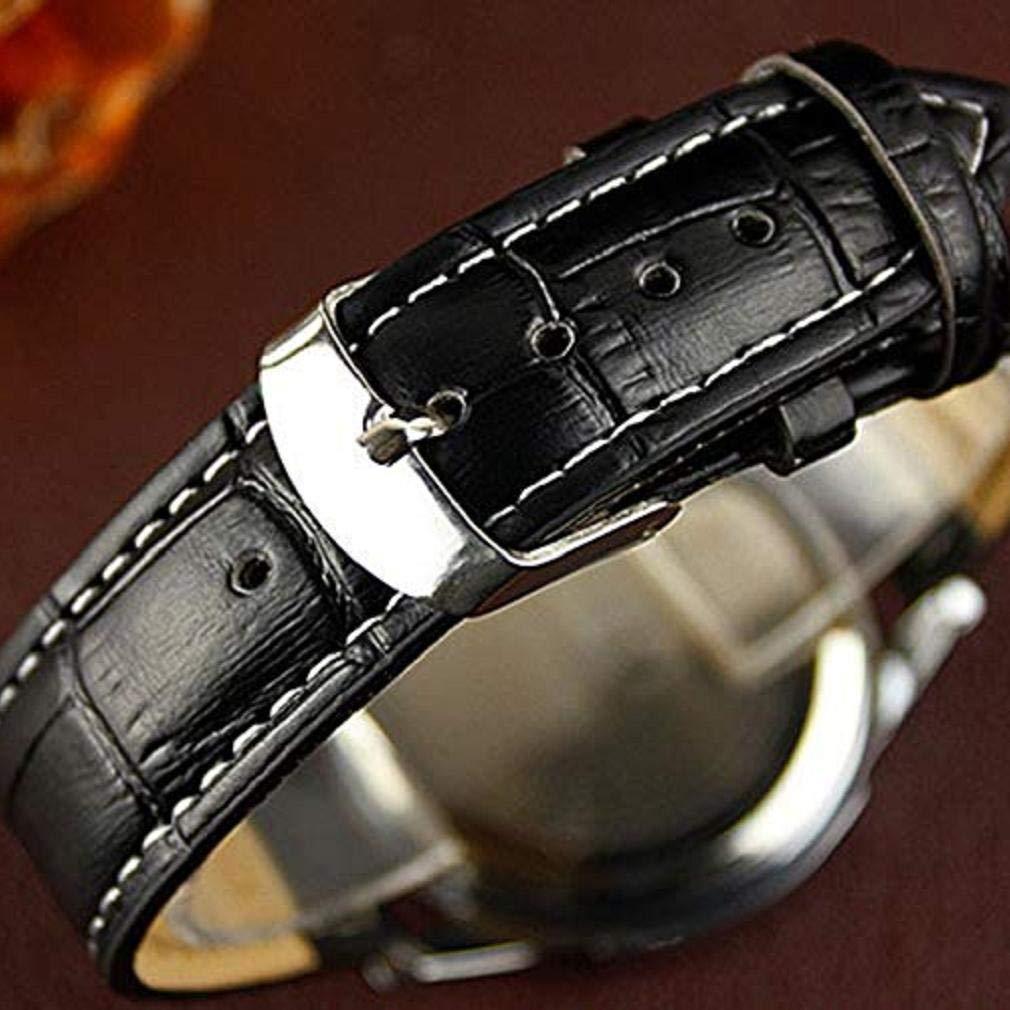 Scpink Reloj de Cuarzo para Hombre, Reloj de Pulsera de Moda Casual de Negocios análogo único, Relojes liquidación con Banda de Cuero de PU cómoda (Negro): ...