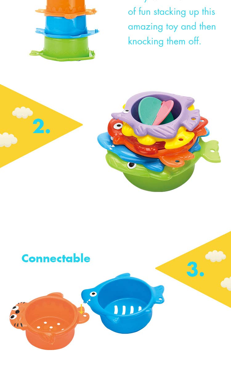 SYSINN EPT340745 Kids Educational Stacking Cup 6 Animals Design Baby Bath Toys For Summer
