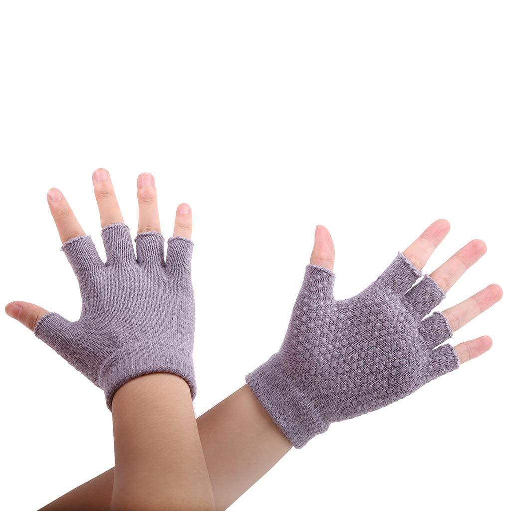 Midress Winter Warm Fingerless Gloves,Unisex Thicken Acrylic Half-Fingers Glove,Women Men Yoga Fitness Gloves Gym Training Sports Non-Slip Bicycle Gloves (Gray)