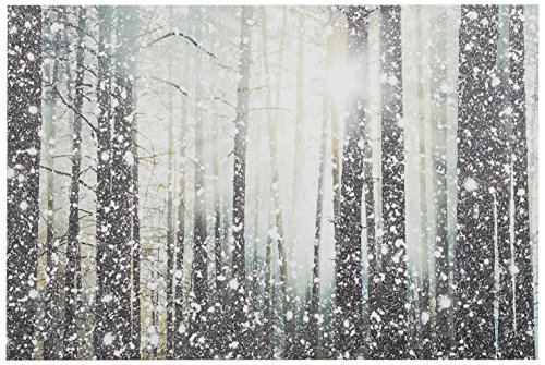 Modern Silver and White Forest Print on Canvas Bathroom Wall Art Decor -  - wall-art, living-room-decor, living-room - 61 jG5jm73L -