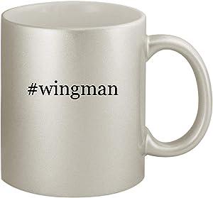 #wingman - Ceramic Hashtag 11oz Silver Coffee Mug, Silver
