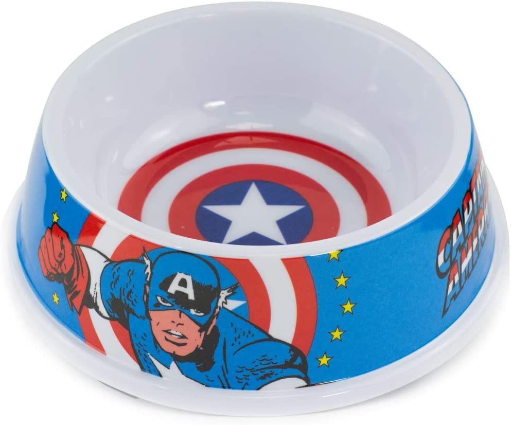 Buckle-Down Dog Food Bowl Captain America Shield Action Pose Blue Red White 16 Ounces