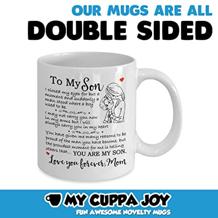 7d9bd7289740 Gift for Son - Christmas Mother Son Gift Coffee Mug - Birthday Gift for Son  - 11oz Novelty Tea Cup - to My Son Love, Mom Touching Quote Great Xmas, ...