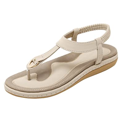 e8dcddf7d30 VFDB Women Slingback Thong Sandals Open Toe Summer Platform T-Strap Flip  Flops Shoes Beige