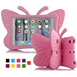 iPad mini 4 case, Leebay Non-toxic Light EVA iPad mini case, Kids-use 3D Cartoon Butterfly ipad mini 4 case, Shockproof Cover with Stand for kids (Pink)
