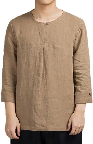 Camisa De Manga Larga Para Hombres Camisa De Manga Larga Para Hombres De Algodón De Estilo Chino Camiseta De Estilo Chino De Manga Larga Para Hombres, Brown-L: Amazon.es: Ropa y accesorios