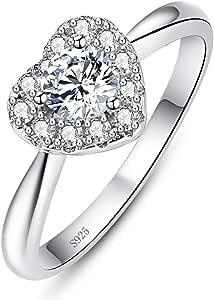 AVECON 925 خواتم قلب من الفضة الاسترليني للنساء على شكل قلب خاتم خطوبة نسائي خاتم زفاف دائري زركونيا خالصة وعد خاتم لها مقاس 5-10