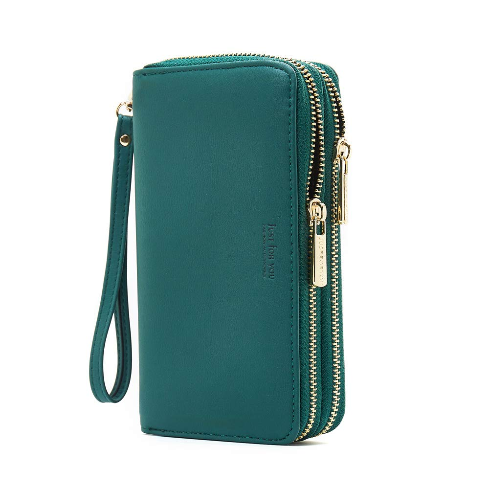 Cyanb PU Leather Wristlet Cellphone Clutch Wallet Long Purse with Dual Zipper Removable Wrist Strap Green by Cyanb