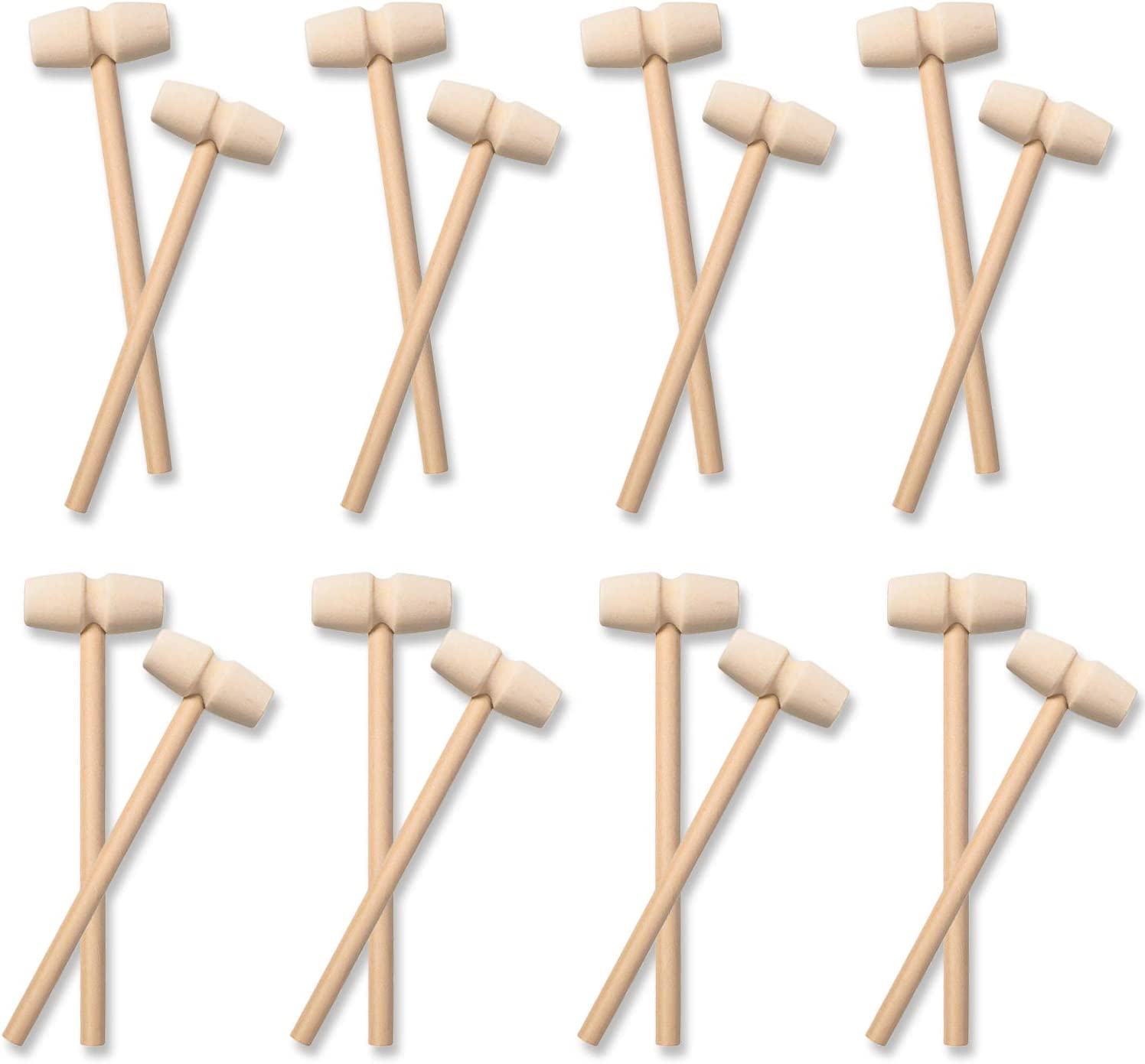 20 Pieces Mini Wooden Hammer Mallets Pounding Toy, Wooden Crab Lobster Shellfish Mallets Solid Natural Hardwood Crab Hammer for Cracking Chocolate, Seafood Tool