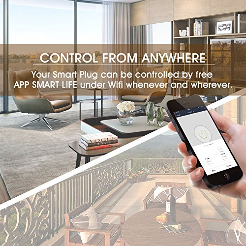 Mini Smart Plug Outlet Compatible with Alexa Google Home,no Hub Required,Wifi enabled Smart Socket Control your Devices from Anywhere, Ocupies Only One Wall Outlet