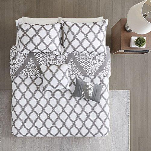 510 Design Jaclin Duvet Cover Reversible Ogee Damask Floral Flower Botanical Medallion Diamond Printed Pattern Boho Shams Pleated Pillow Ultra Soft All Season Bedding-Sets, King/Cal King, Grey