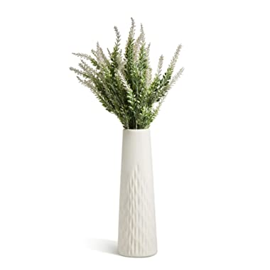 Opps Artificial Lavender Flowers Bouquet with Special White Ceramic Vase for Home, Party & Wedding Décor – White