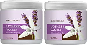 Smells Begone Air Freshener Odor Absorber Gel - Made with Natural Essential Oils - Absorbs and Eliminates Odor in Pet Areas, Bathrooms, Cars, Boats (Lavender Vanilla Scent 2 Pack)
