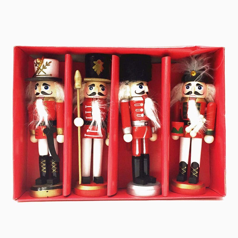 Set Di 4 Pezzi Schiaccianoci Regalo Natale Soldato Schiaccianoci Soldato Marionetta Giocattolo Regalo Soldato Giocattolo Di Legno 12 Cm MapleHome