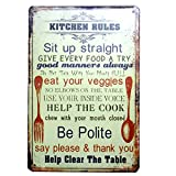 Kitchen Rules Metal Tin Sign, Vintage Plaque Poster Home Kitchen Dining Room Wall Decor