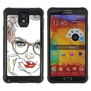 Be-Star único patrón Impacto Shock - Absorción y Anti-Arañazos Funda Carcasa Case Bumper Para SAMSUNG Galaxy Note 3 III / N9000 / N9005 ( Lips Sensual Girl Red Smart Glasses )