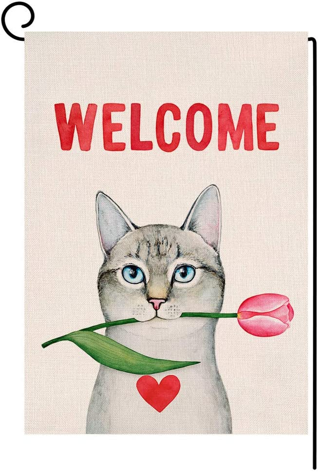 Cat Welcome Valentine's Day Small Garden Flag Spring Red Tulip Vertical Double Sided Burlap Yard Outdoor Decor 12.5 x 18 Inches (138846)