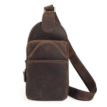f4654521e1e6 Tiding Vintage Men's Genuine Leather Sling Bag Crossbody Shoulder Chest Pack  Unbalance Backpack For Travel School