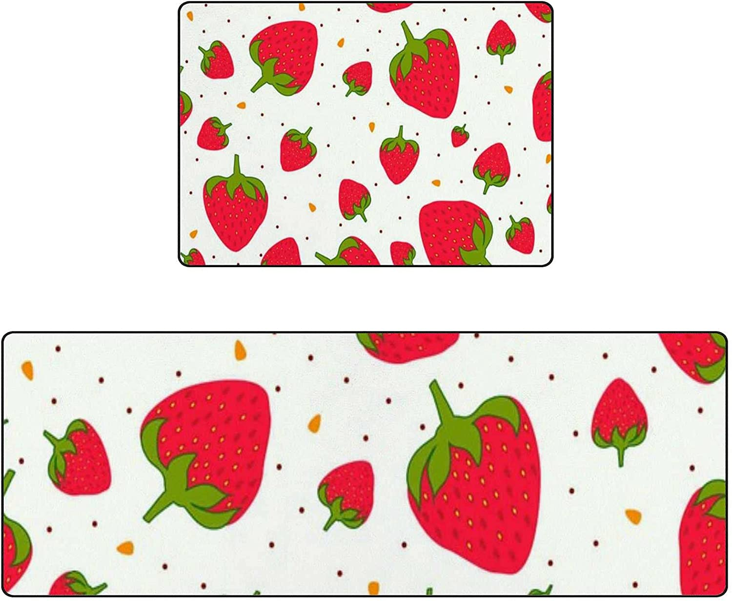 Kitchen Mat Rug Anti-Fatigue Set of 2 Cushioned Red Strawberries Non-Slip Absorbent Kitchen Floor Mats Comfort Sprinkles Decor Runner Rugs for Home, Office, Laundry Room