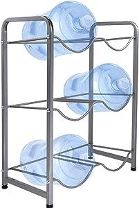 5 Gallon Water Cooler Jug Rack,3-Tier Water Bottle Holder for 6 Bottles,Heavy Duty Water Jug Storage Shelf of Carbon Steel,Detachable Water Jug Organizer Floor Protection for Restaurant, Office,Home