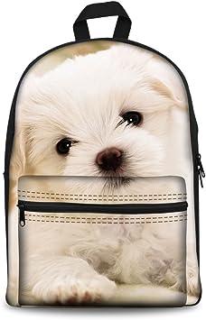 Kids School Backpack Cute Puppy Dog Elementary Bookbag School Bag for Girls Boys