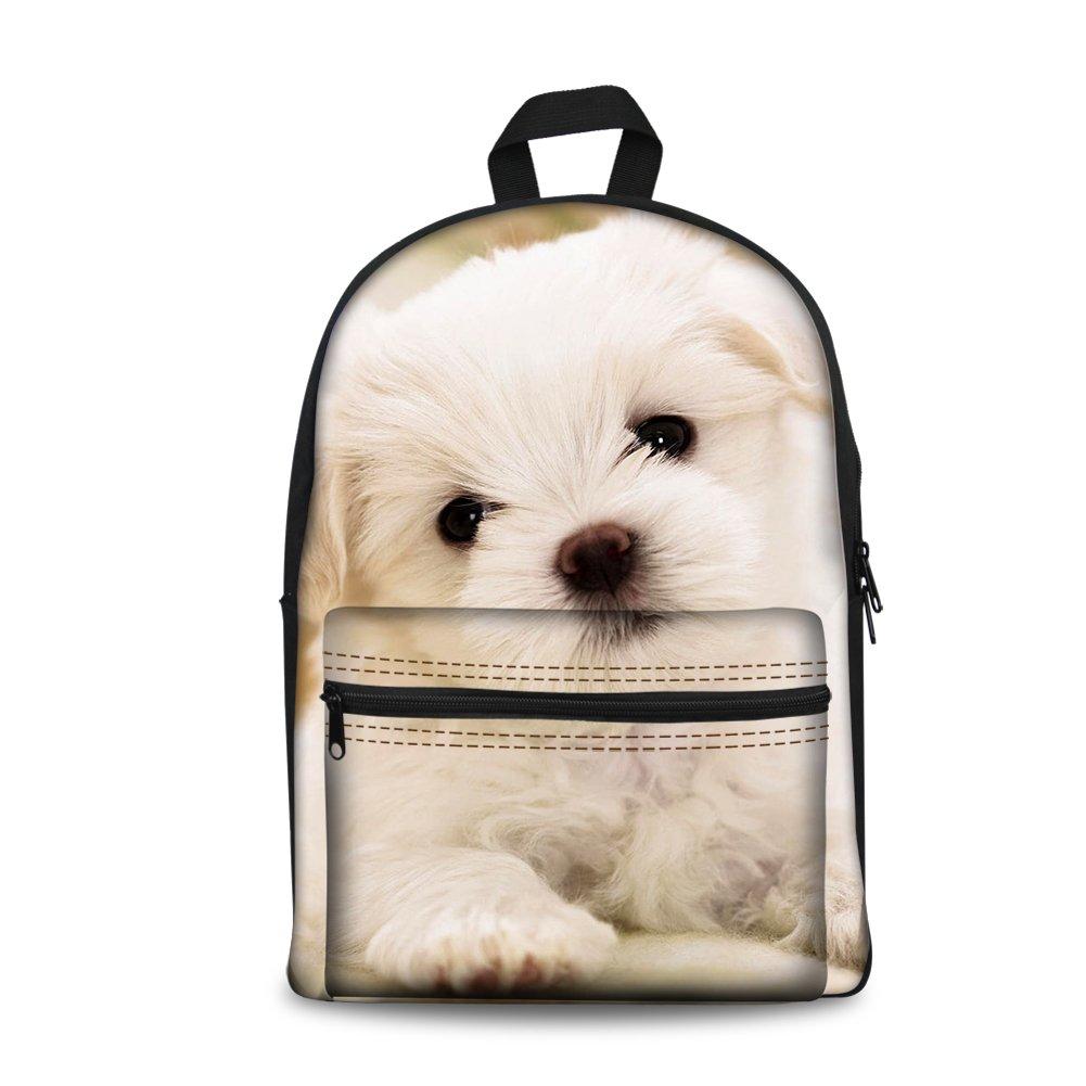 FOR U DESIGNS Kids Travel School Backpack Shoulder Bag for Girls Cute White Puppy Dog Print