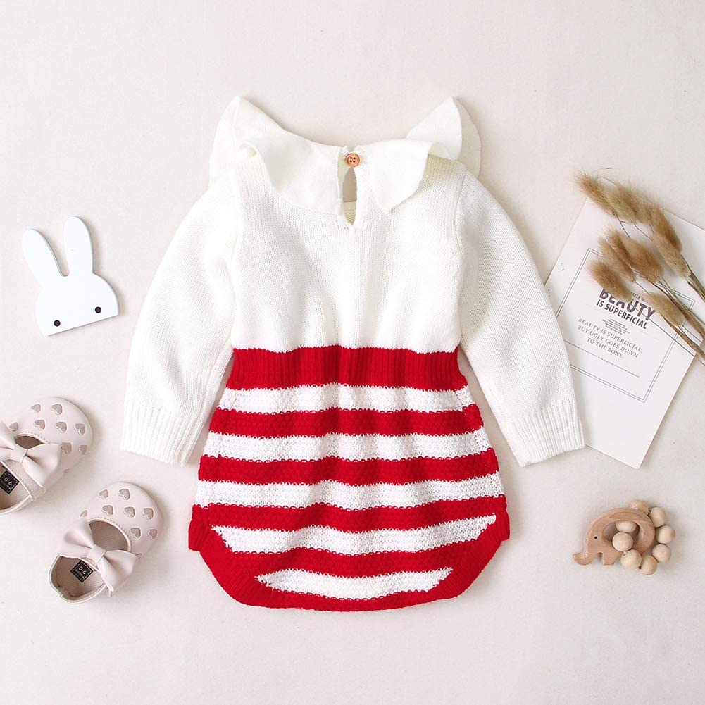 DcoolMoogl Infant Knitted Sweater Romper Newborn Baby Girl Heart Pompom Long Sleeve Bodysuit Fall Winter Clothes