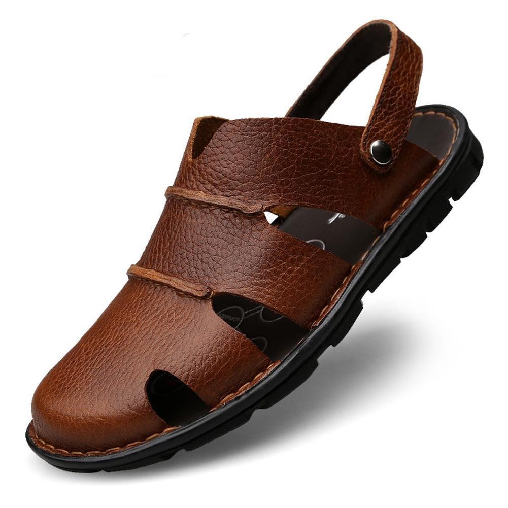 Mr. Sober Sandalias de Cuero para Hombres Zapatos de Playa Vintage de Verano 44 EU / 270mm|Brown