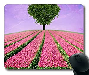 Pink Love Tree Rectangle mouse pad Diy Design by runtopwell