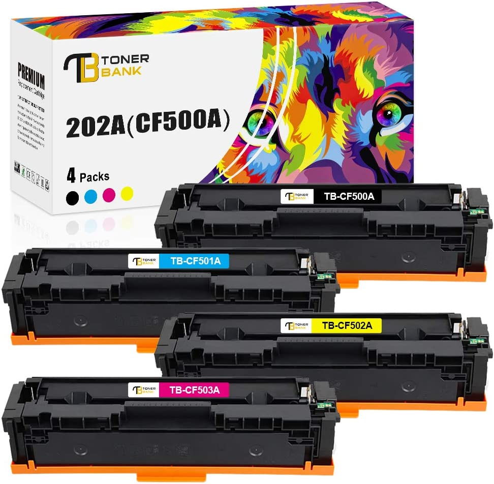 Toner Bank Compatible Toner Cartridge Replacement for HP 202A CF500A 202X for HP Laserjet Pro MFP M281fdw M281cdw M254dw M281 M254 CF501A CF502A CF503A Toner (Black, Cyan, Yellow, Magenta, 4-Pack)