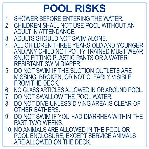 Eletina Case Wall Signs Pool Rules Style B Sign 12 X 12 Inches On Styrene Plastic by Eletina Case