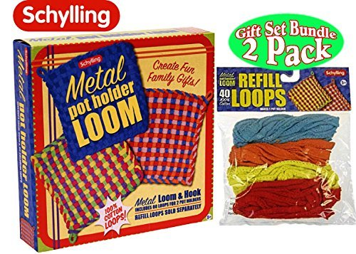 (Schylling Metal Pot Holder Loom Kit & 40 Loop Refills Gift Set Bundle (Colors May Vary) )